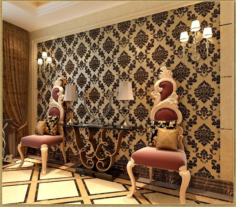 Black damask wallpaper home decor