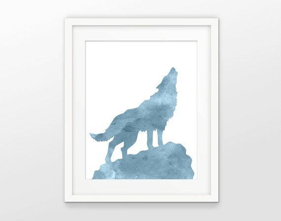 Loup aquarelle Art mural Wolf Print peinture loup loup affiche - peindre sur papier vinyl