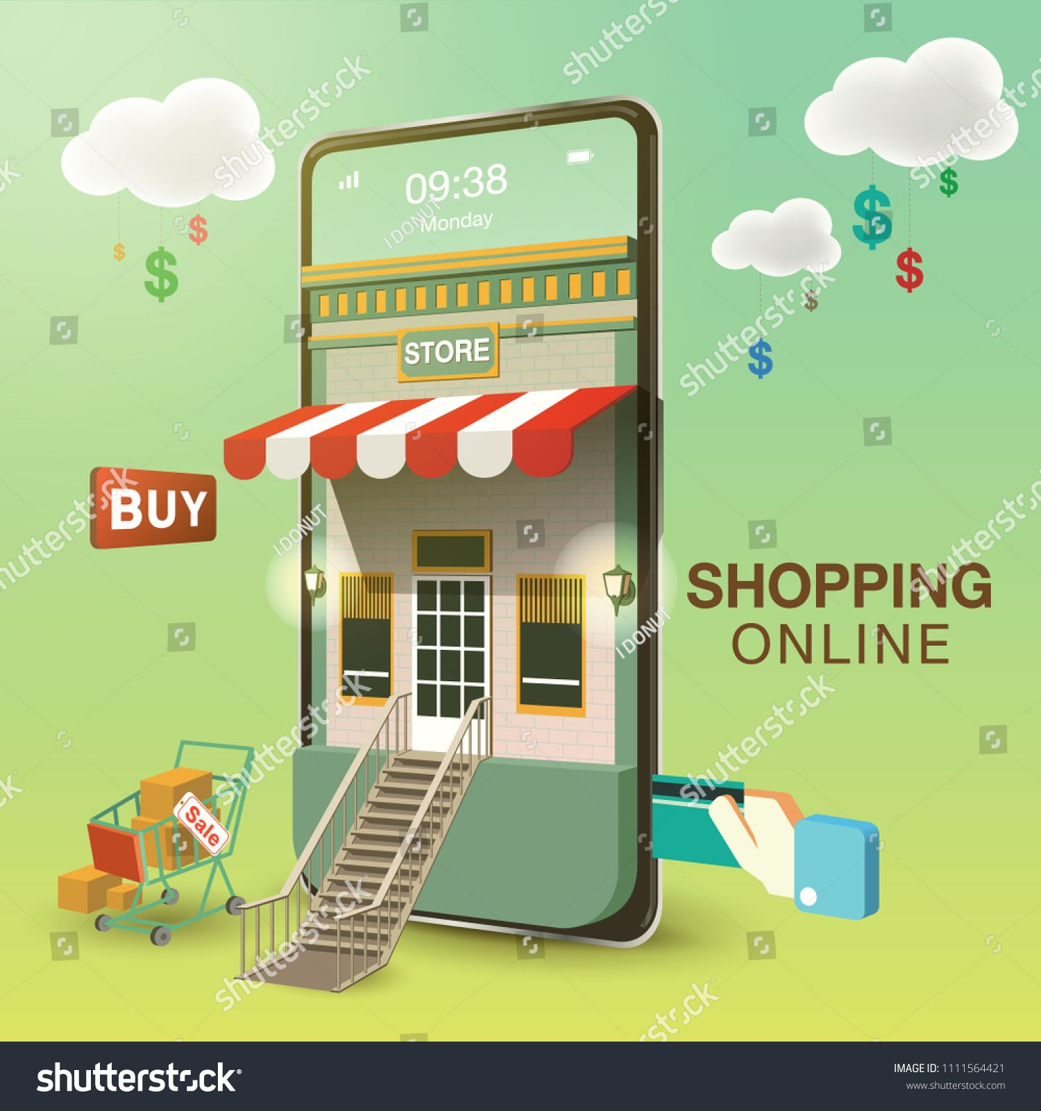 Shopping Online Mobile Phone VECTOR Sponsored , Ad,