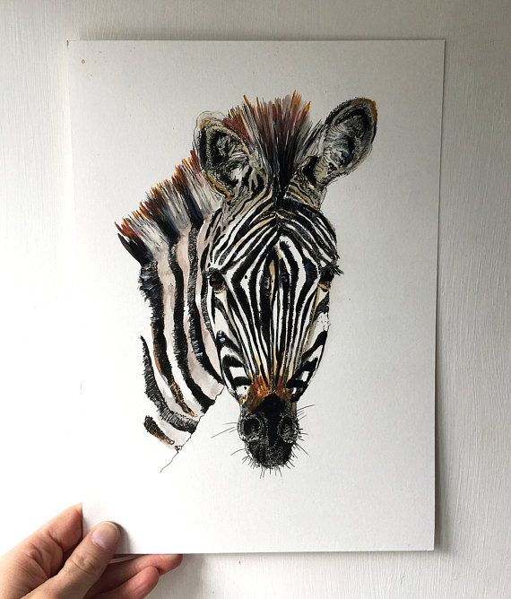 Zebra Painting   Original Artwork   Black And White Nursery Print   Home  Decor   Original Illustration   Baby Shower  Ink And Pen  Wall Art