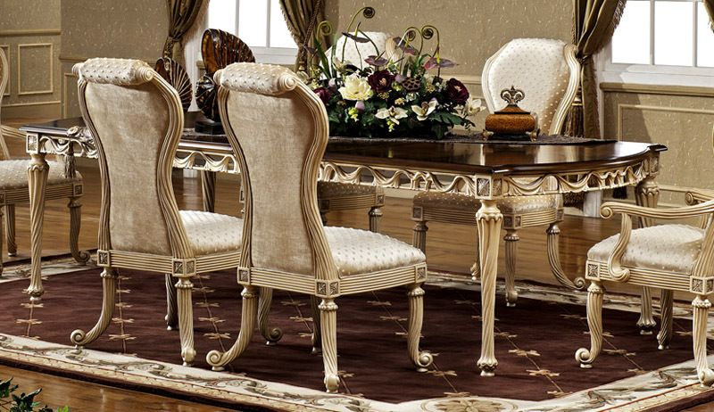 Cleopatra Egyptian Pearl/Antique Cognac 76in Dining Table ...