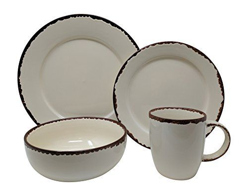Giannau0027s Home Rustic 16 PC dinnerware set is the perfect accent to your shabby chic farmhouse dining décor! Constructed of durable stoneware ...  sc 1 st  Pinterest & Giannau0027s Home Rustic 16 PC dinnerware set is the perfect accent to ...