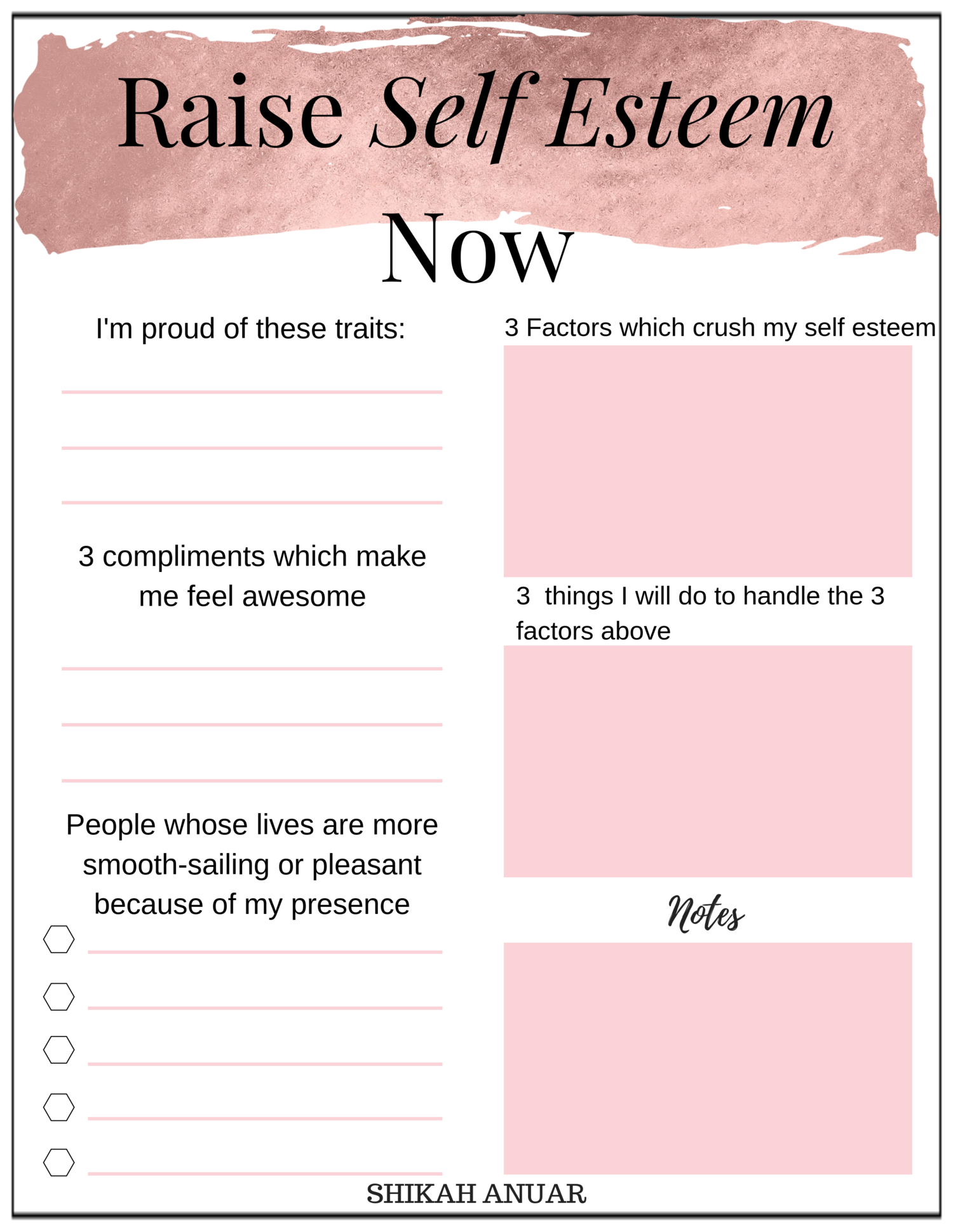 Free Printable Raise Your Self Esteem Now
