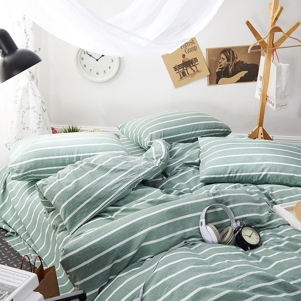 2b157828b07d EnjoyBridal Striped Green Duvet Cover Sets Kids Twin Washed Cotton Fine  Stripes Bedding Sets Twin with