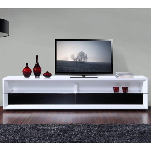 meuble tv laque blanc et noir