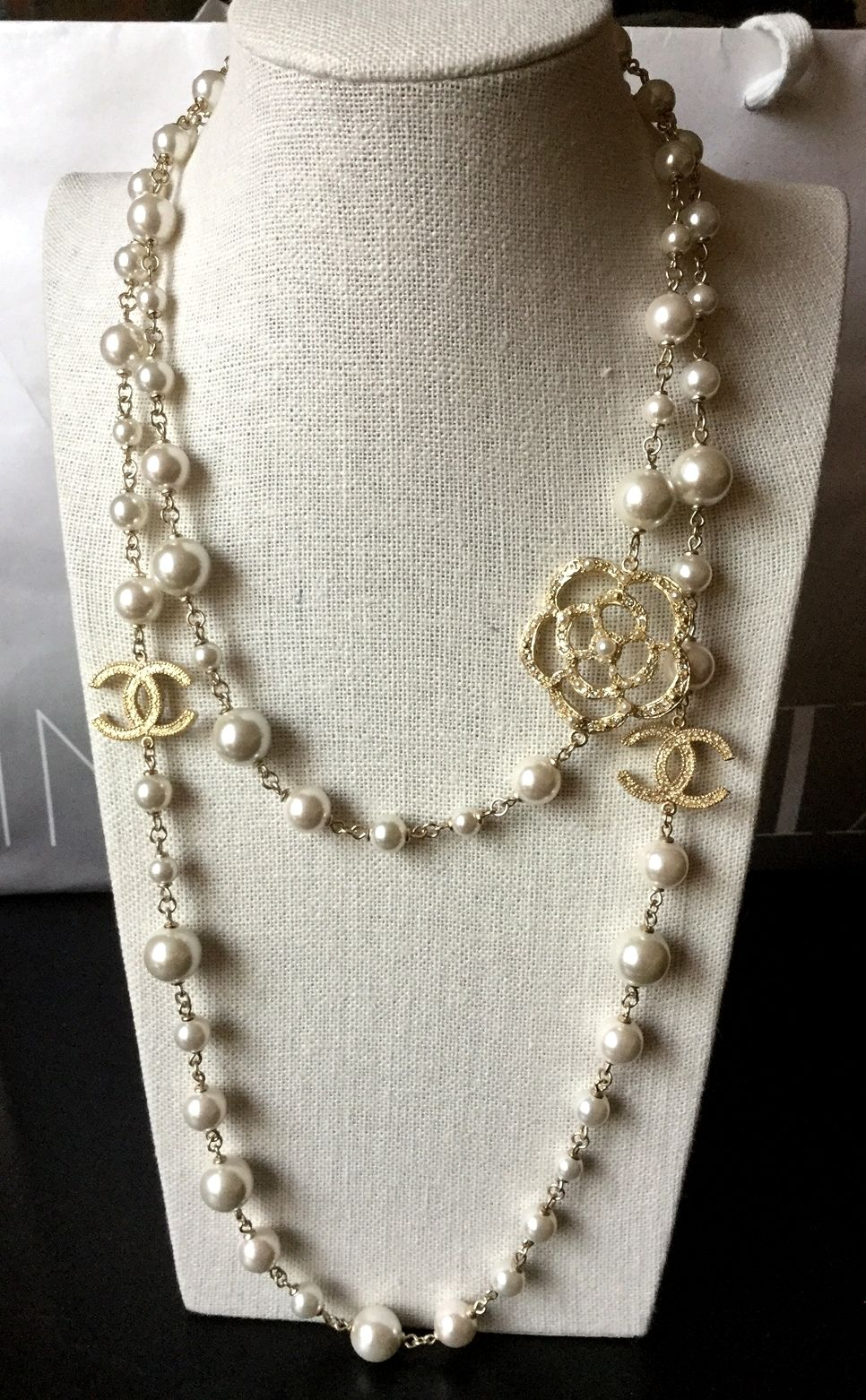 256566993bc RARE new  CHANEL Classic Camellia Pearl Necklace Gold Metal Chain CC Long  Strands