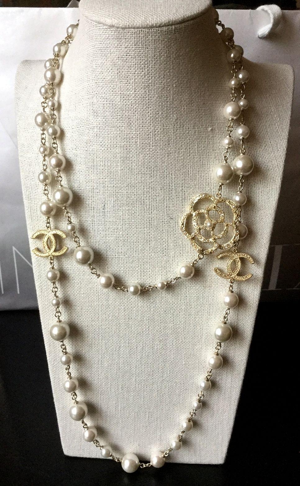 ba79affd43e73 RARE new #CHANEL Classic Camellia Pearl Necklace Gold Metal Chain CC ...