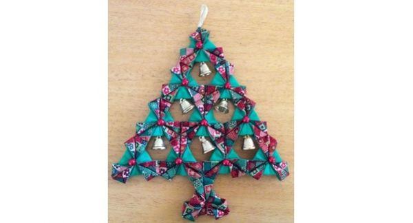 Tutorial Fabric Origami Christmas Tree Wall Hanging Christmas Origami Fabric Origami Origami Christmas Tree