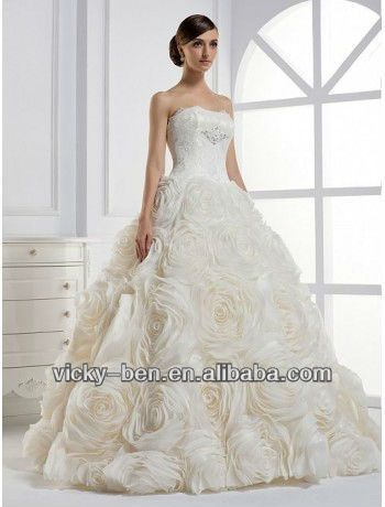 B1144 Organza Strapless Ball Gown Wedding Dress With Dramatic Rosette Skirt Designer One Piece Puffy