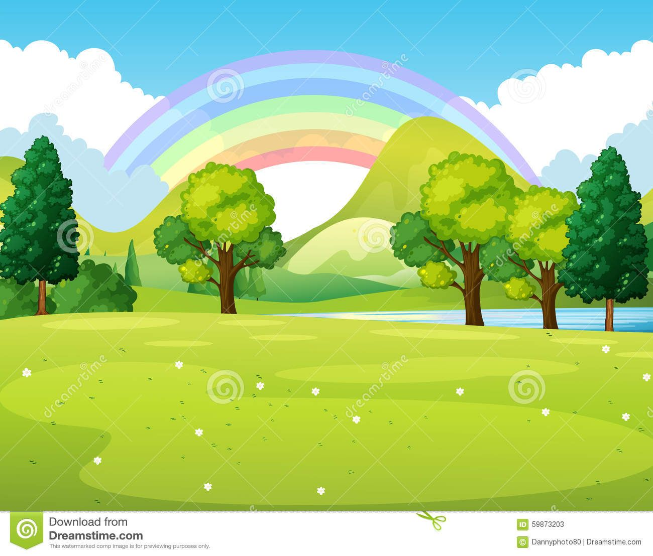 Illustration About Nature Scene Of A Park With Rainbow Illustration Illustration Of Garden Drawing Cloud 5987320 Nature Scenes Drawing Scenery Nature Kids