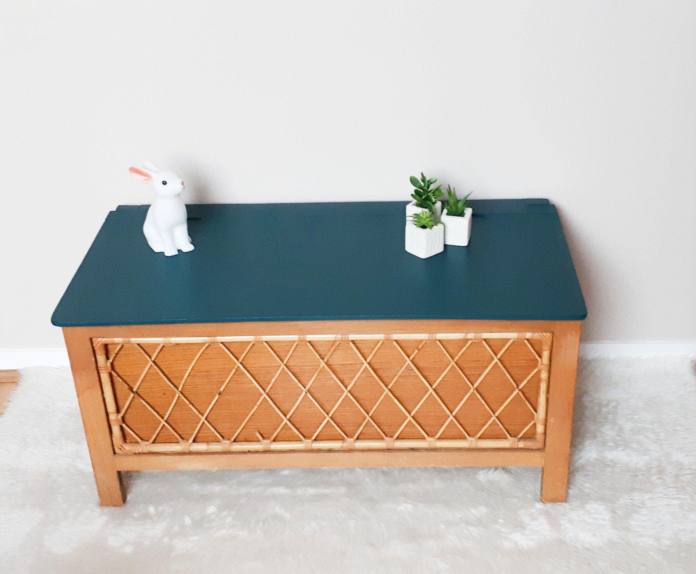 Coffre A Jouets Annees 60 Bois Et Rotin Relooke En Bleu Canard Par Atelierdelachoisille Sur Etsy In 2020 Home Decor Items Home Decor 21st Century Homes