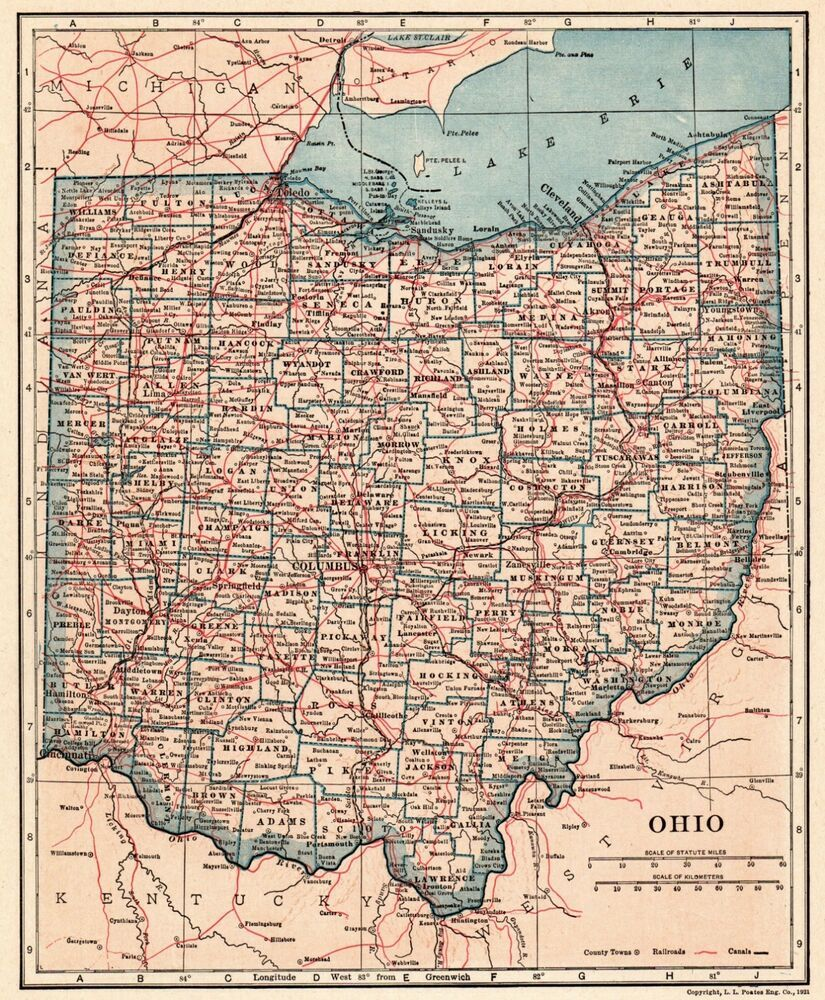 Ohio And Surrounding States Map.Details About 1921 Antique Florida Map Vintage State Map Of Florida