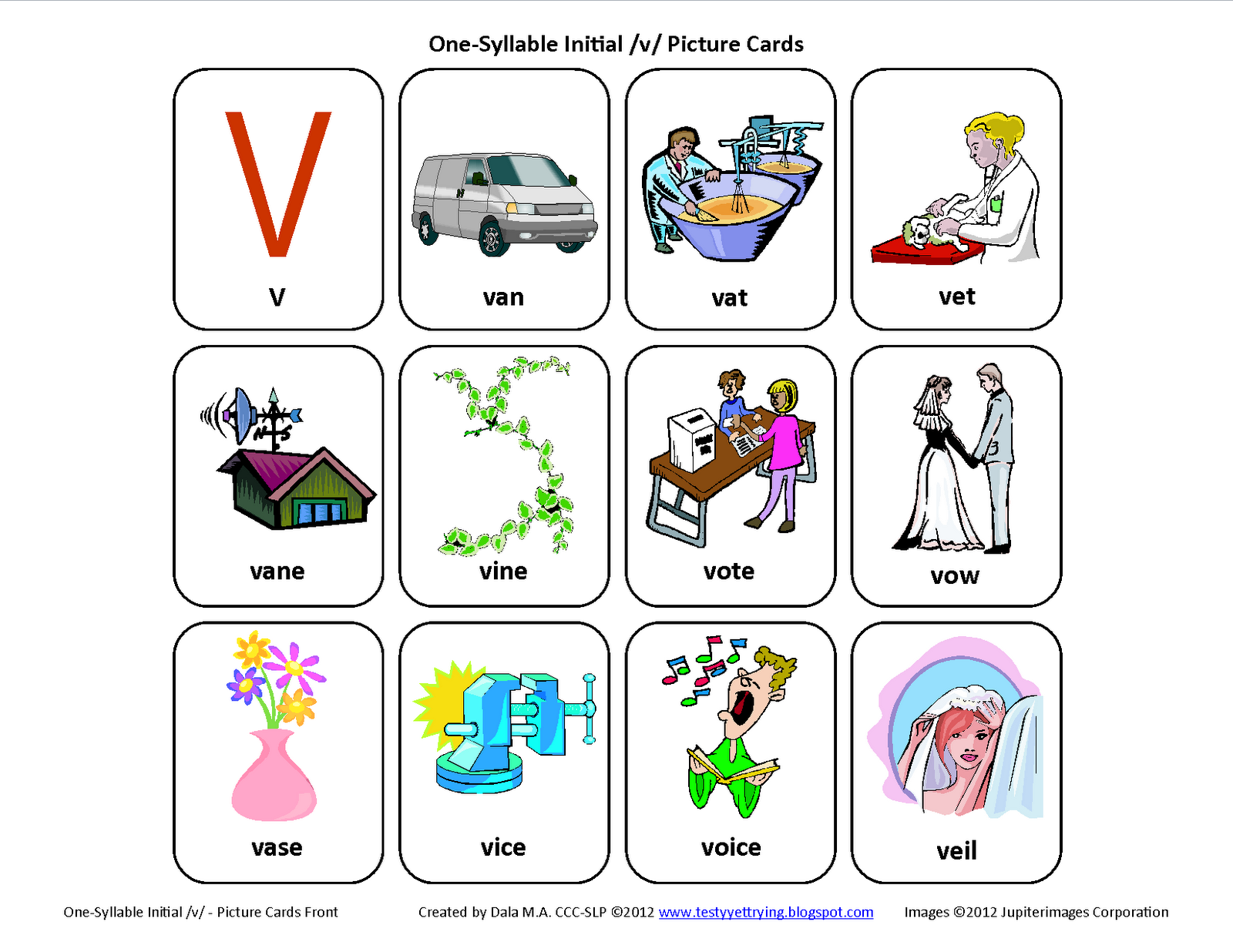 Initial V Free Speech Therapy Articulation Picture Cards