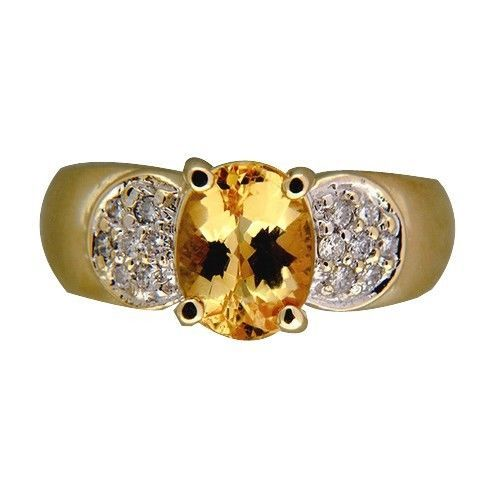 Vintage-Bright-1-75ct-Golden-Yellow-Citrine-20CT-Full-Cut-Diamond-Tal-14k-Ring