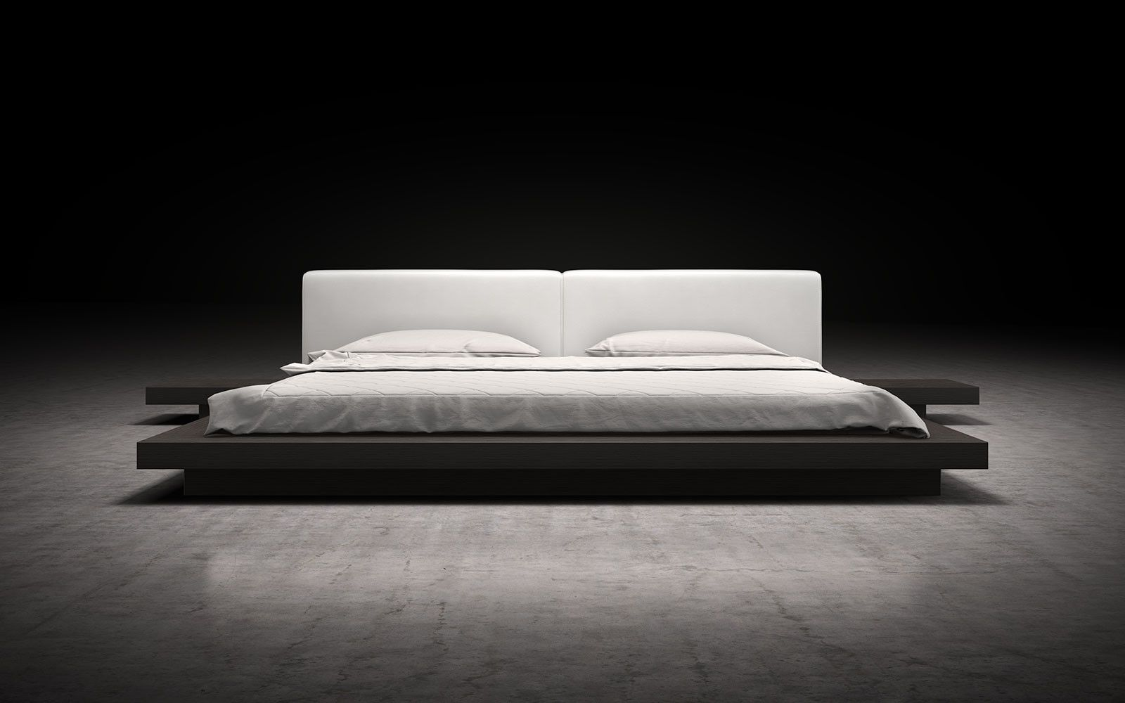 The Asian Inspired Worth White Leather Platform Bed By Modloft Features A Low Profile Hardwood Frame With Matching Symmetrical Nightstands