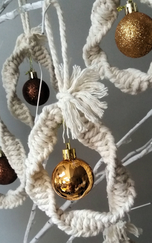 Macrame Christmas Bauble Tree Decoration Christmas Decoration Natural Winter Wedding Christmas Ornament Tree Decoration Bauble By Snugandsty Selbstgemacht