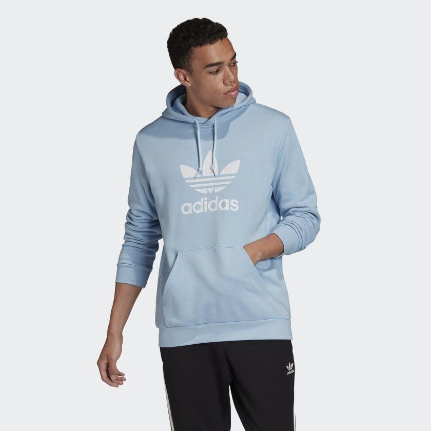 Logro Vueltas y vueltas Hambre  Trefoil Hoodie Clear Sky FM3784 | Mens sweatshirts hoodie, Hoodies men,  Hoodies