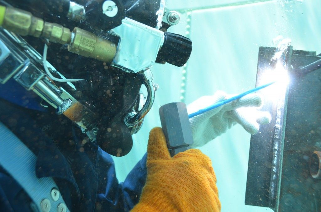Underwater welding training at it's finest!! Come take a