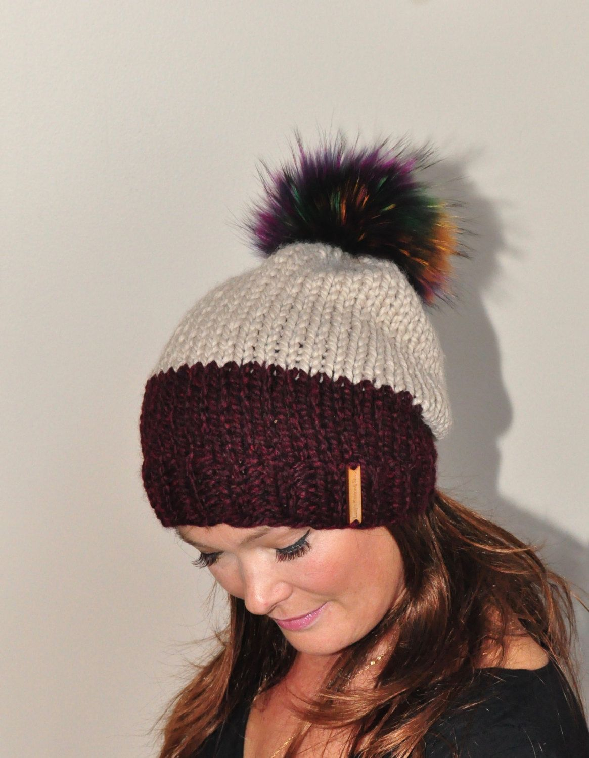 fa5e52be6b4 Fur Pompom Beanie Two Tone Slouchy Hat Women Hat Winter Hat CHOOSE COLORS  Burgundy Taupe Chunky Knit Hat Christmas Gift by lucymir on Etsy
