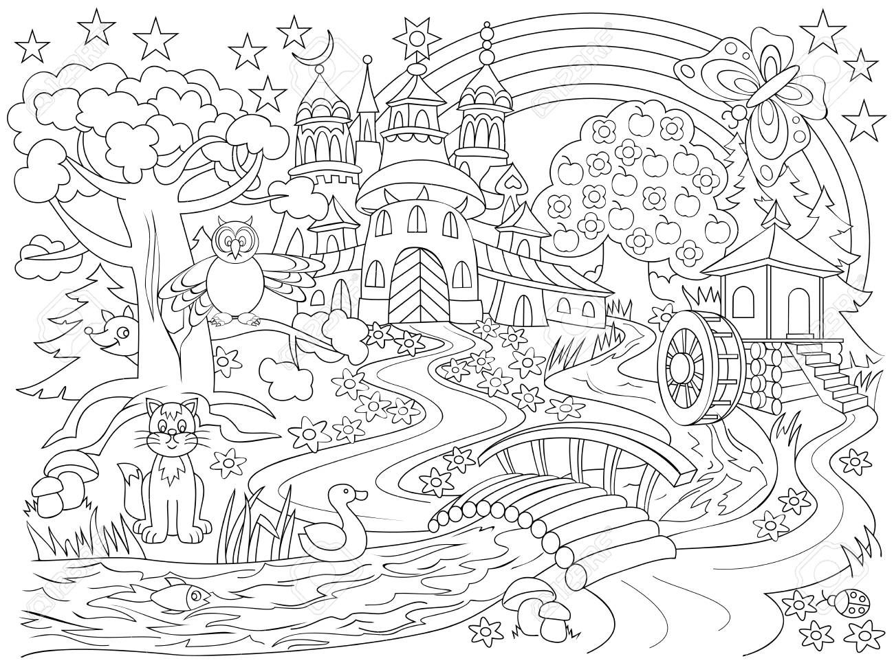 Fairy Land Coloring Pages Design