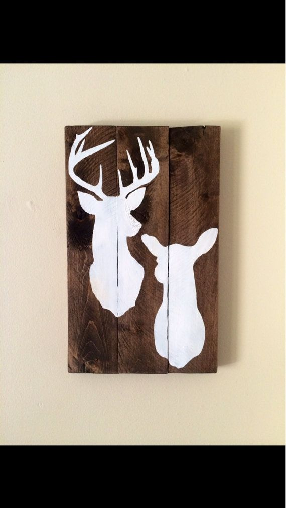 Rustic Hand Painted Reclaimed Pallet Wood Sign With Deer Silhouette Buck And Doe On Etsy 25 00 Wood Pallet Signs Wood Art Deer Silhouette