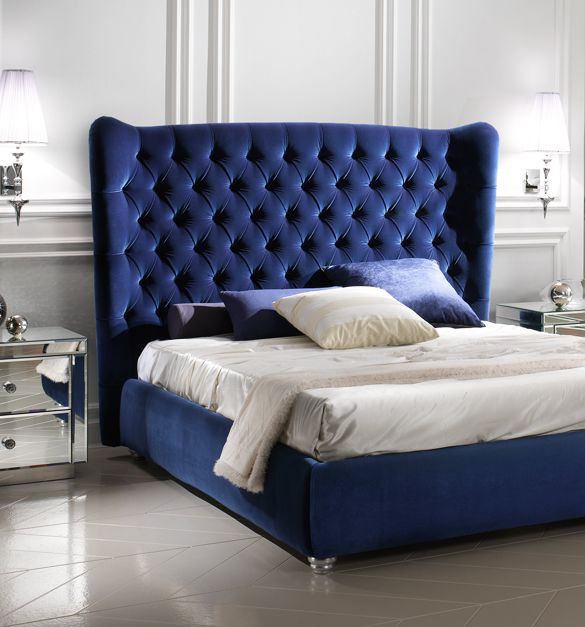 Best Luxury Blue Bedding Italian Luxury Blue Winged Velvet 400 x 300