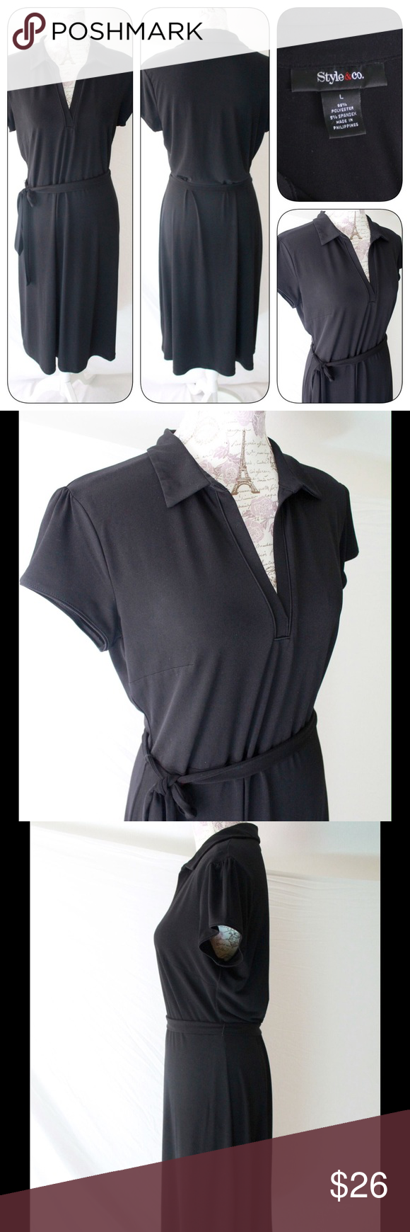 Style & Co Black Pullover Dress, Lg. Collared, V This is a Style & Co. Pullover Black Dress in size Large.  Collared with cap sleeves; V neck with self-tie belt.  95% poly and 5% spandex.  Versatile and classic in style.  Just like new. Style & Co Dresses