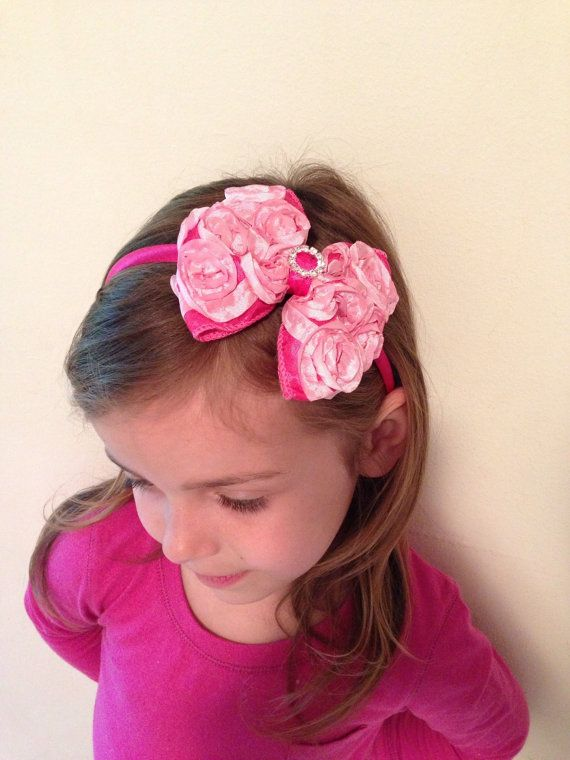 Hot pink and pink rosette ribbon large bow with by DonnaBellaBows, $10.95