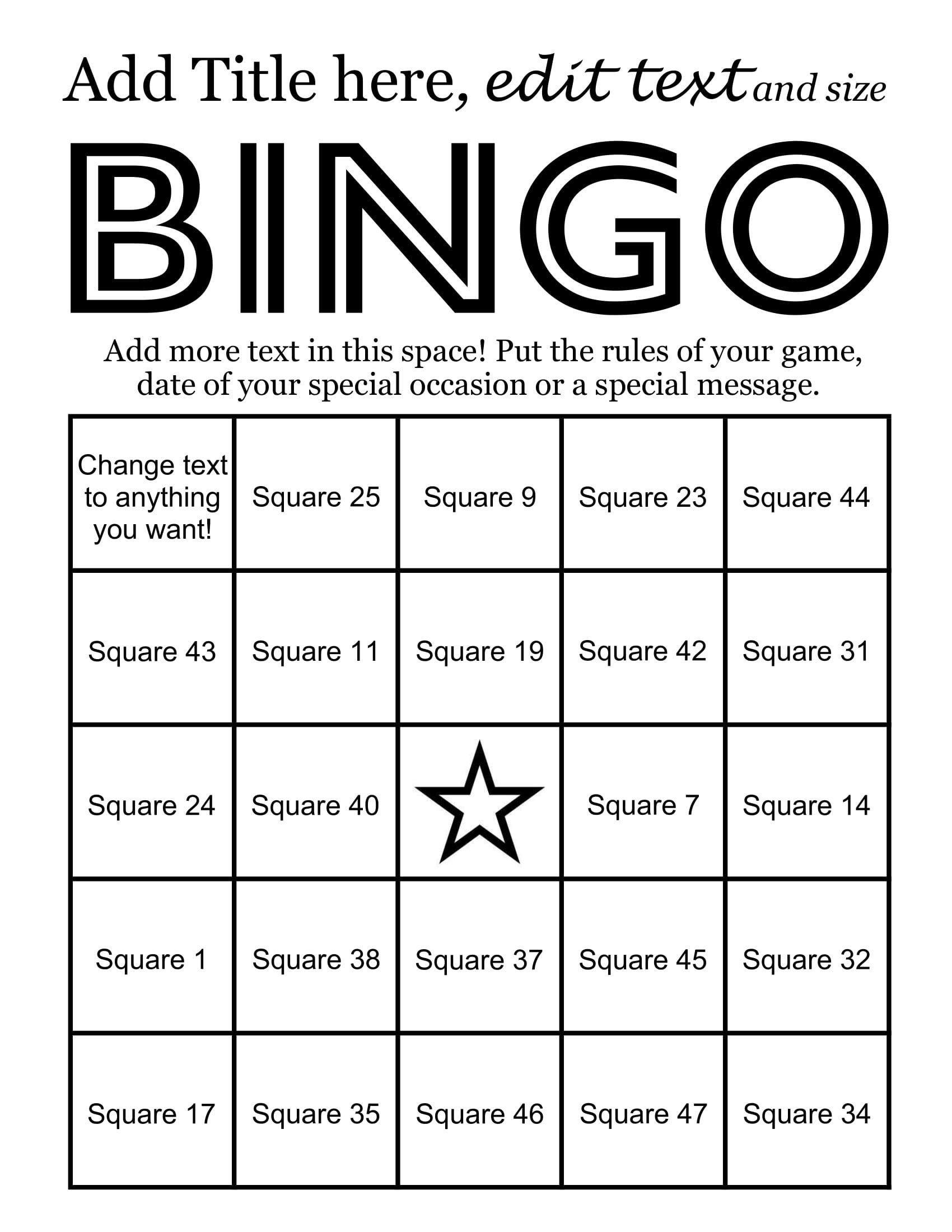 Bingo Card Maker makes 50 custom bingo cards 48 call items