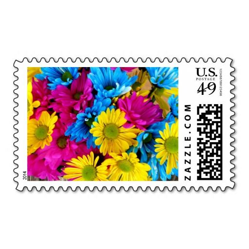 daisies colorful flower pink blue stamp stamps