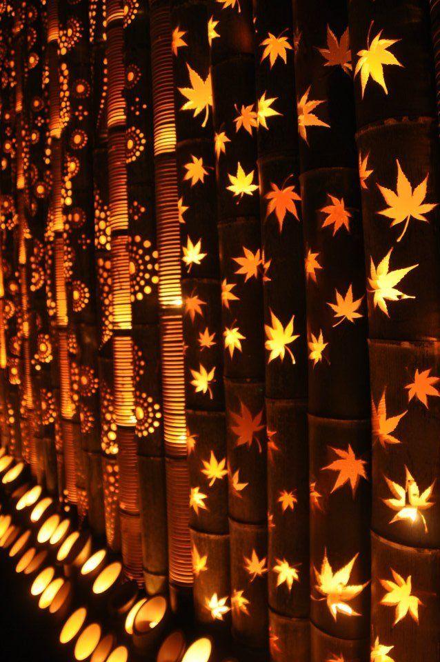 Japanski Festivali Lampiona Od Bambusa Upaljeno 30 000 Bambus Lampi