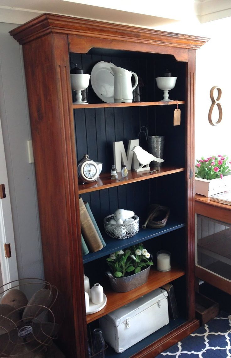 Bookshelf Entry Timber Bookcase Painted In Denim Blue Chalk Paint