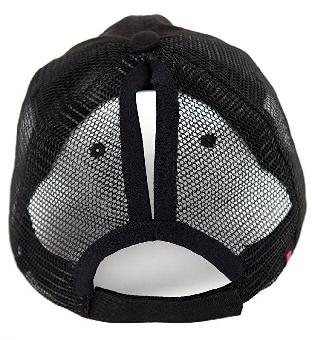 BOEKWEG The Original Ponytail Hat. Fashionable hats made for ponytails.  (Black Distressed  208859ca976