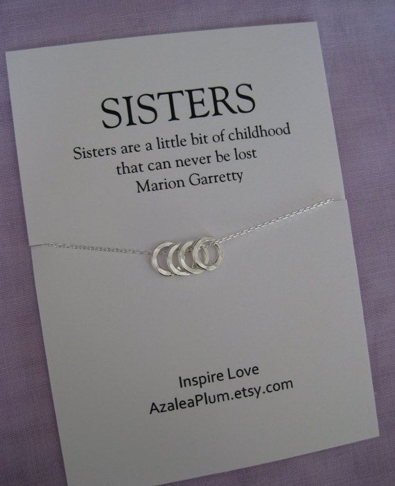 4 SISTERS Necklace FOUR Sisters Sterling Silver By AzaleaPlum Sister Gifts My