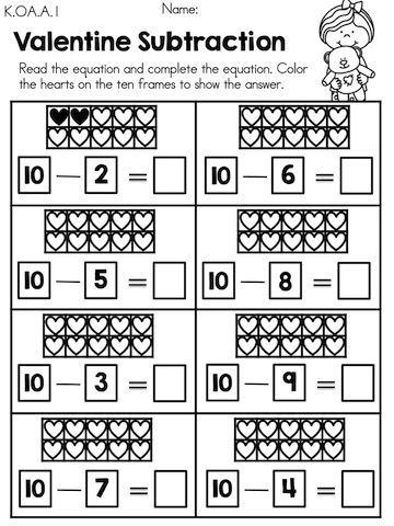 valentine subtraction with heart ten frames  part of the  valentine subtraction with heart ten frames  part of the valentines day kindergarten  math worksheets packet