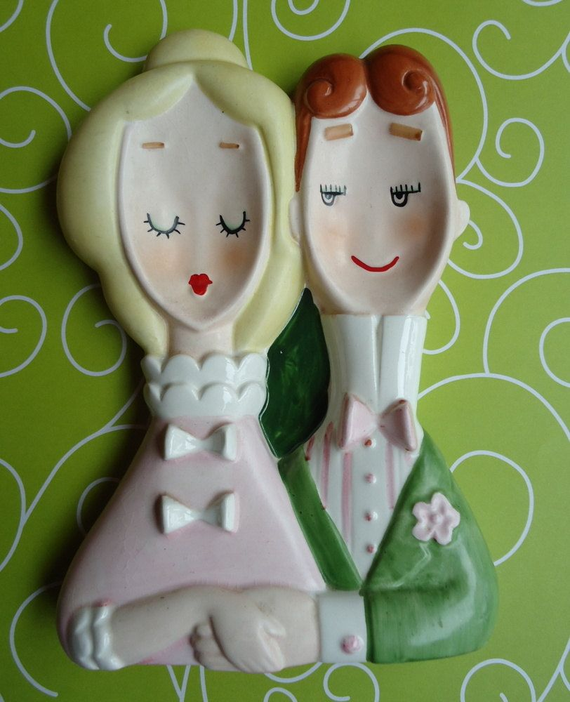 1560 Featuring Man and Woman Vintage 1960\u2019s Lefton Ceramic Double Spoon Rest No