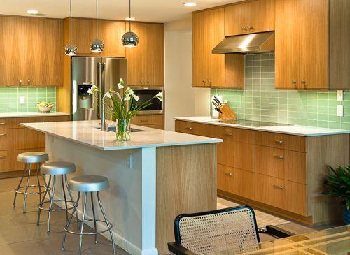 Simple Slab Front Cabinets Kitchen Design Mid Century