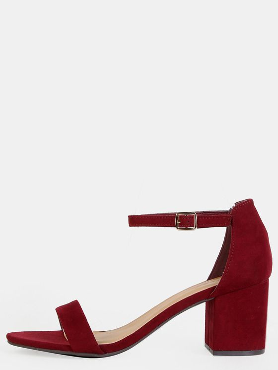 thoughts on official exclusive deals Faux Suede Open Toe Block Heels BURGUNDY | MakeMeChic.COM in ...