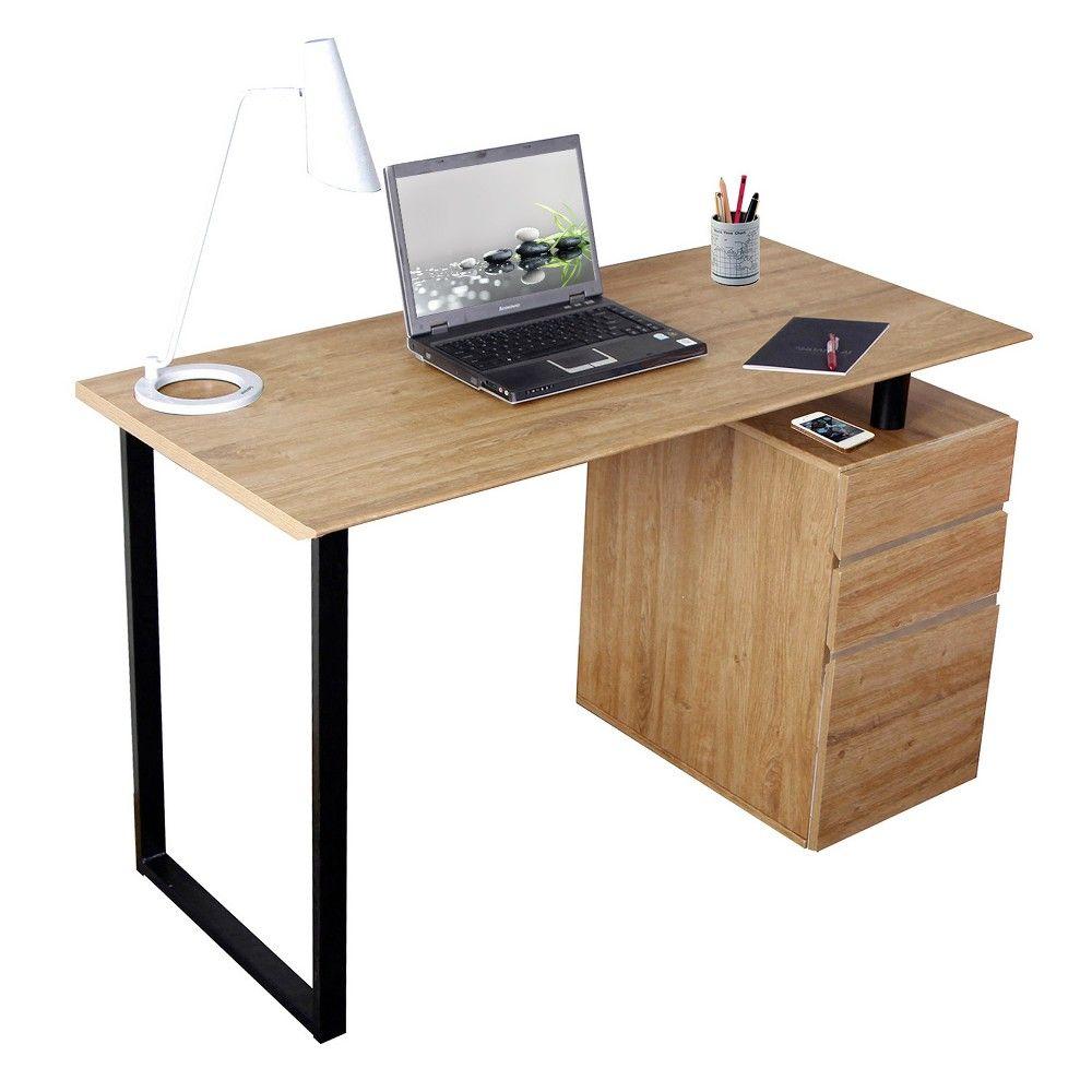 Computer Desk With Storage And File Cabinet Wood Techni Mobili In 2021 Desk Storage Wooden Computer Desks Modern Computer Desk