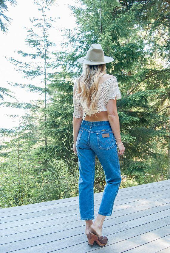 54d7b29a 90s Wrangler Jeans, 29 30 Waist Dark Wash High Waisted Jeans ...