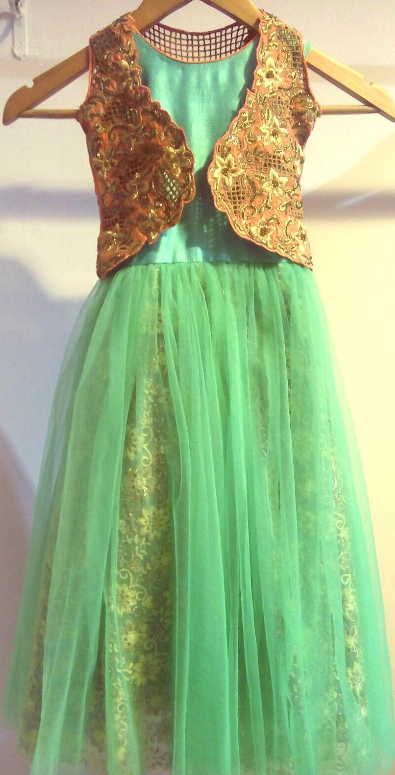 House design jacket - Kids Girl Designer Gown Cut Work Jacket In House Design Net