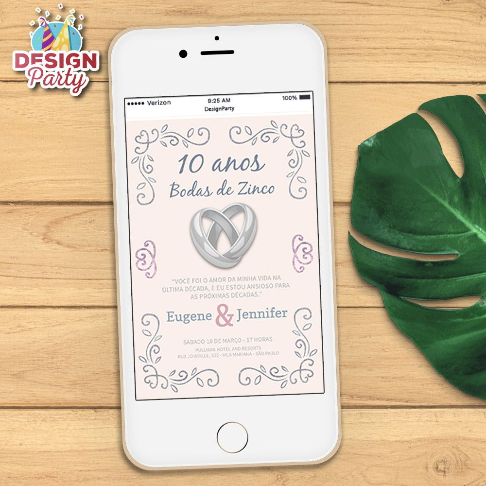 Convite Digital Bodas De Zinco 10 Anos Com Imagens Convites