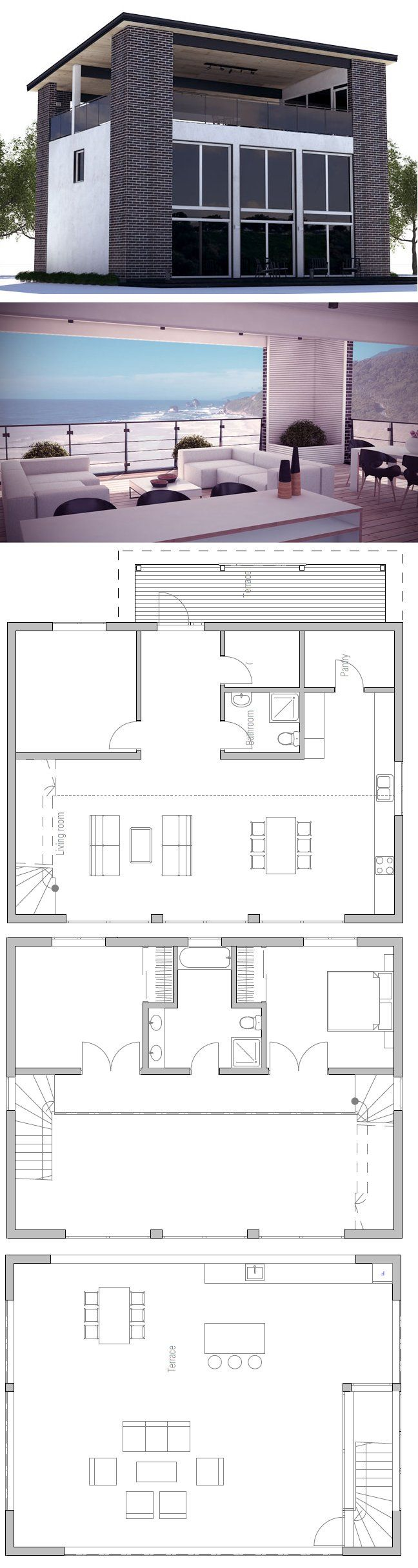Modern house plan with rooftop terrace three bedrooms high ceilings
