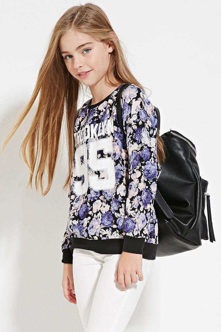 girls floral sweatshirt kids sweatshirts hoodies 2000170781 forever 21 eu english. Black Bedroom Furniture Sets. Home Design Ideas