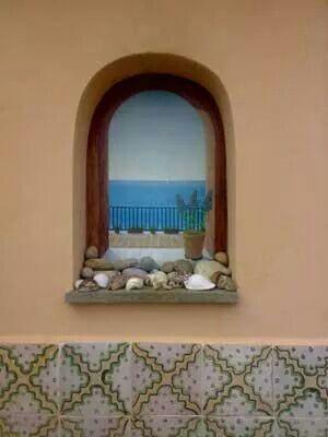Paper trompe l 39 oeil finestra sul mare f08 trompe l 39 oeil su carta da parati lavabile - Trompe l oeil finestra ...