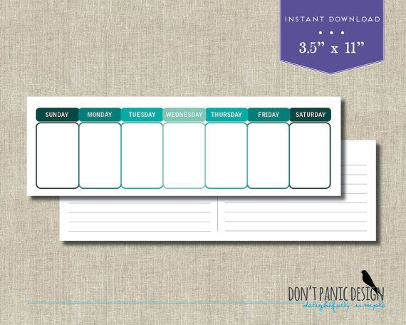 Printable Perpetual Weekly Calendar  Simple Modern Teal Green Daily