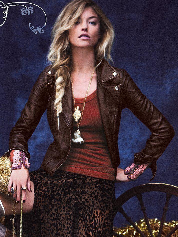 Free People Vegan Leather Metallics Jacket