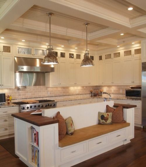 White Offwhite Kitchen Stainlesssteel Marble Countertop Teak