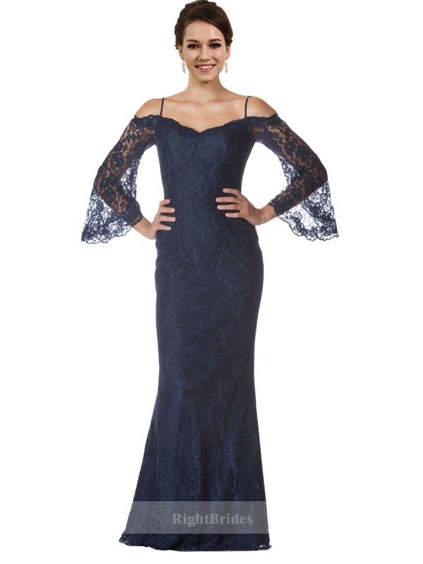 Cheap Bridal Shop Mermaid Off the Shoulder 2018 Long Lace Dark Navy ...