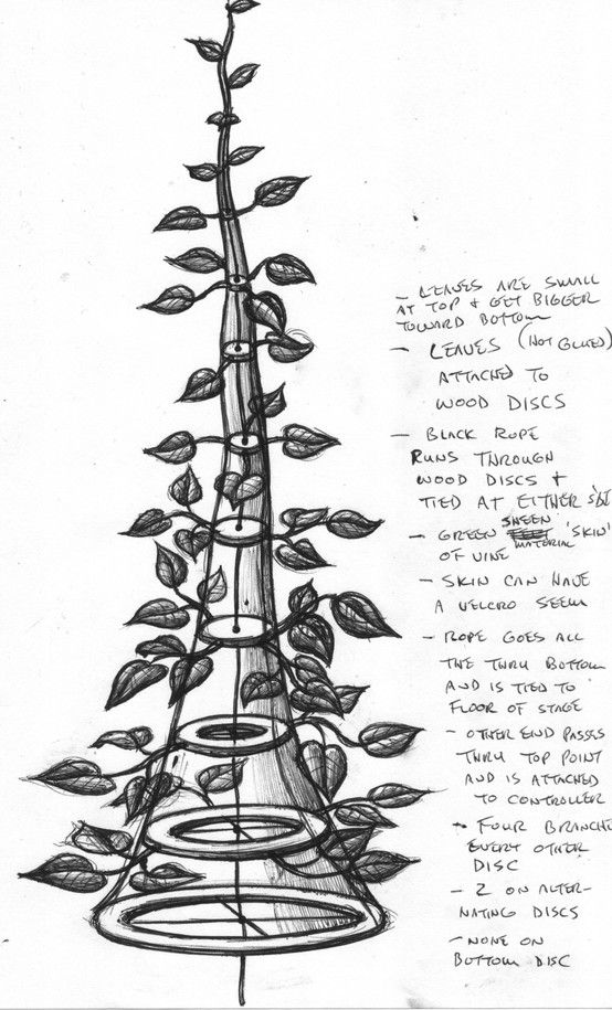 Design for growing beanstalk for Jack and the Beanstalk marionette production. A stage piece made to look like a raised mound of earth would hide the collapsed bean stalk until it was time for it to grow. Once fully grown, the puppeteer hangs the ring attached to the upper end of the stalk cord to a hook above the stage so he was free to operate his marionette.
